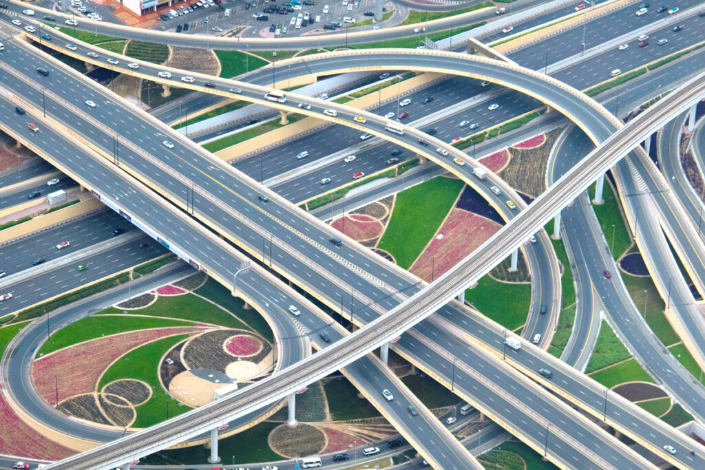 Picture of city with complex road system